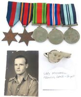 .BRITISH WW2 MEDAL GROUP, PHOTO & WHISTLE. CAPTAIN MICHAEL FRANCIS LANE-JOYNT.