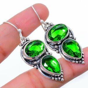 """Burmese Peridot Gemstone 925 Sterling Silver Jewelry Earring 2.0"""" T8661"""