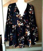 WOMEN'S a.n.a. ANA BLACK MULTICOLOR FLORAL PRINT LONG BELL SLEEVE TOP SIZE L