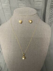 """10K Yellow Gold Pearl Set Necklace 18"""" And Earrings"""