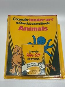 Sealed 1986 Crayola Kinder Art Color & Learn Books Animals. Wipe off crayons