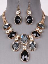 Gold Tone Black Rhinestone Glass Stone Bib Necklace Earrings Fashion Jewelry Set
