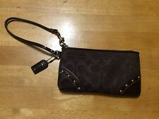 New COACH Patent Leather BROWN Signature C Shimmer Fabric WRISTLET Bag 4 x 7