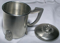 Norwegian Pewter Tinn Footed Mug Cup with Squirrel Lid Small Tankard Vtg Mint