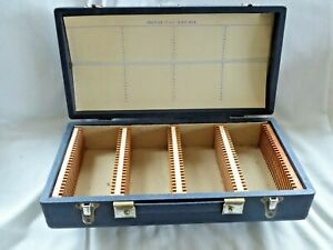 "Photax wooden slide box covered in dark blue rexine for 100  2.25""sq 6x6  Slides"