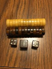 Vintage Magnets Chocolate and Butterscotch Swirl Bakelite Backgammon  5/8 Wide