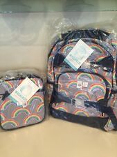 Pottery Barn Kids Gray Neon Rainbow Large Backpack And Lunchbox New Set