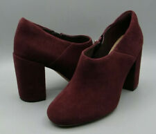 CLARKS Amabel Clara Burgundy Suede Leather Block Heel Shoes Boots 6 D EUR 39.5