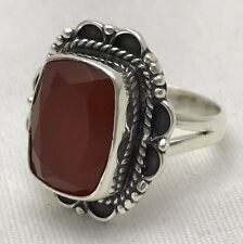 Estate Genuine Carnelian Ring Detailed Faceted Fine Stamped .925 Silver Size 7.5