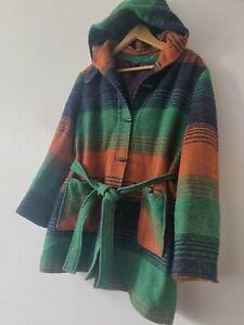 Vintage Hooded Belted DUFFLE Coat Green Orange 12