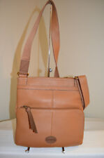 NWT Fossil Morgan Leather N/S Top Zip Crossbody Messenger Saddle Brown ZB4799216