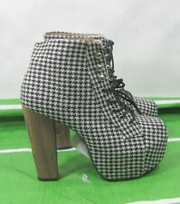 """new Black,White,Plaid 5""""High Block Heel Round Toe Lace Up Sexy Ankle Boot Size 7"""