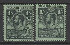 FALKLAND ISLANDS 1929 KGV WHALE AND PENGUIN 1/- BOTH PERFS
