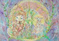 MADELEINE CLAVIER (1913-2015) SIGNED FRENCH EXPRESSIONIST OIL - THE LION & LAMB