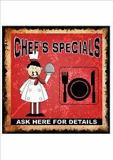Chefs Menu Board Pub Cafe Vintage Retro Sign Restaurant Menu Wall Plaque