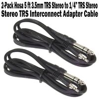 "2-Pack Hosa 5 ft 3.5mm TRS Stereo Male to 1/4"" TRS Stereo Male Patch Cord Cable"