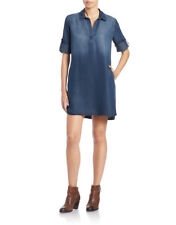 Anthropologie Cloth & Stone Denim Dress Chambray XS Pull Over Shirt Dress