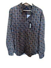Boohoo Man Tile Print Satin  Shirt Bnwt Large