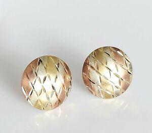 Beautiful 9ct Yellow Rose & White Gold Fancy Diamond Cut Disc Stud Earrings