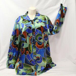 1970's Christie Jill Mod Blouse XL Abstract Disco Polyester Womens Hippie