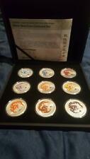 2012 1oz Silver Coloured Dragon 9 coin sets