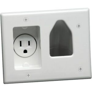 DATACOMM ELECTRONICS 45-0021-WH 2-Gang Recessed TV Cable Plate with Power Outlet