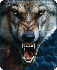 Queen Big Bad Wolf Scary Snarl Halloween Mink Faux Fur Blanket Warm Soft Full