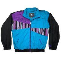 RARE VTG Starter S2 Black Purple Color Block Jacket Zip Windbreaker Coat Mens XL