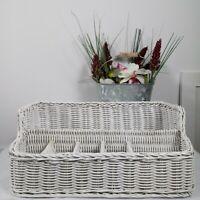 Vintage White Wicker Basket Vanity Organizer Farmhouse