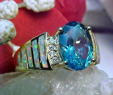 100% Genuine Deep London Blue Topaz 10x8mm & White Fire Opal Ring 925 SS/Gold
