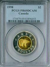 1998 CANADA SILVER $2 TOONIE PCGS PR-69 DCAM FINEST GRADE SPOTLESS .
