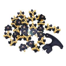 30Pcs Yellow Golf Shoe Spikes Replacement Champ Cleat Metal Thread+Removal Tool