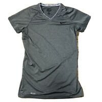 Nike Pro Combat Dri-Fit Short Sleeve Shirt Fitted Gray V-Neck Women's Size M
