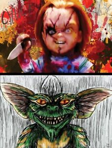 80's horror Lot of 2 Quality Posters Chucky Child's Play Gremlins Stripe
