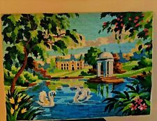 """Vintage French Unframed Needlepoint Art Completed Country Scene Swans 15"""" x 20"""""""