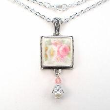 Rose & Morning Glory Necklace Broken China Jewelry Handmade Vintage Charm