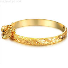 18K Gold Plated Bell Heart Bracelet Children Boys Girls Kids Baby Jewelry Bangle