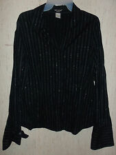 EXCELLENT WOMENS BAY STUDIO BLACK W/ SILVER PINSTRIPE SHIRT  SIZE M