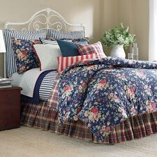 Ralph Lauren Chaps Cape Cod Cottage Reversible Blue Rose Floral Duvet Set - King