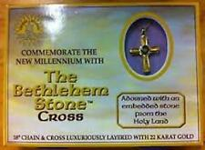 """The Bethlehem Stone Cross layered  with 22 karat Gold with 18 """" chain"""