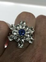Vintage Blue Sapphire Ring 925 Sterling Silver White Sapphire Size 8