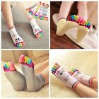 1pair Emoji Lady Woman Girl Smile Five Fingers Trainer Toe Ankle Sport Socks Hot