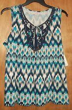 Women's L (14/16)  sleeveless top - geometric pattern