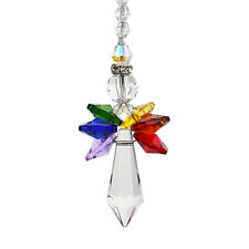 Rainbow Crystal Guardian Angel Chakra Suncatcher Car Charm for Rear View Mirror