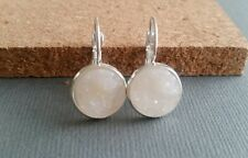 crystal druzy earrings, white stone,  faux quartz, acrylic, silvertone