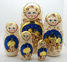 RUSSIAN CHURCH WOOD BURN Hand carved Hand painted NESTING DOLL Christmas set