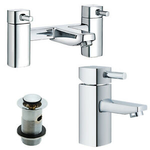 Modern 1/4 Turn Bath & Basin Mixer Taps & Waste Chrome Bathroom Tap Set (ICE 51)