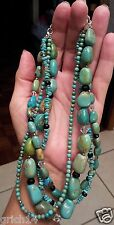 SILPADA 4 STRAND TURQUOISE, OBSIDIAN, GLASS & SS BEADS NECKLACE RETIRED - N1299