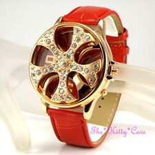 XL Gents Mens Red Leather Gold Rapper Spin Ice Pimp Bling Crystal Gangster Watch