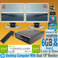 "Computer HP core 2 DUO 2 x 19"" TFT DOPPIO SCHERMO MONITOR VELOCE PC Windows 7 Wi-Fi"
